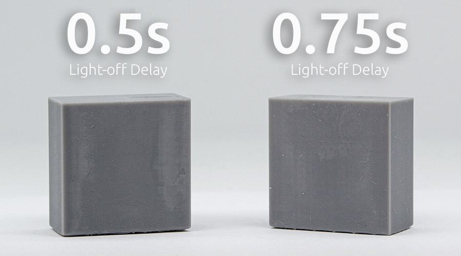 better surfaces with Light-off delay in resin 3D printing. No blooming