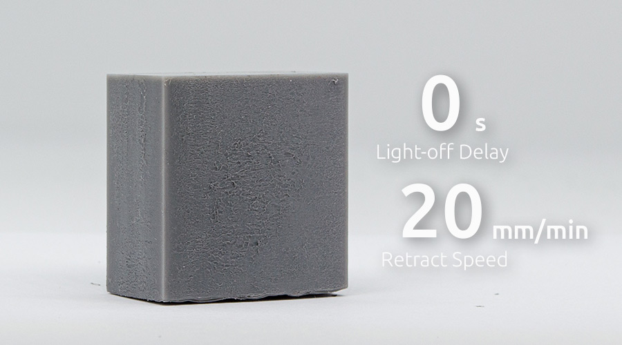 Slow retract speed with no Light-off delay in resin 3D printing. blooming effect
